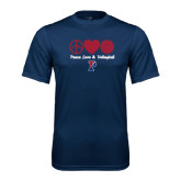 Syntrel Performance Navy Tee-Peace Love & Volleyball