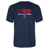 Performance Navy Tee-Peace Love & Volleyball