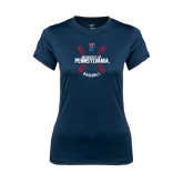 Ladies Syntrel Performance Navy Tee-Pennsylvania Baseball Seams