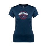 Ladies Syntrel Performance Navy Tee-Pennsylvania Basketball in Ball