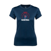 Ladies Syntrel Performance Navy Tee-Penn Basketball Stacked w/ Ball