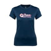 Ladies Syntrel Performance Navy Tee-Penn Softball Script