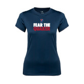 Ladies Syntrel Performance Navy Tee-Fear The Quaker