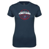 Ladies Syntrel Performance Navy Tee-Pennsylvania Basketball Arched