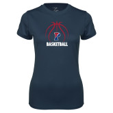 Ladies Syntrel Performance Navy Tee-Penn Basketball Under Ball
