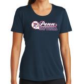 Ladies Syntrel Performance Navy Tee-Penn Softball Script