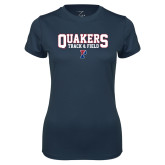 Ladies Syntrel Performance Navy Tee-Quakers Track and Field