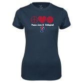 Ladies Syntrel Performance Navy Tee-Peace Love & Volleyball