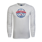 White Long Sleeve T Shirt-Pennsylvania Basketball in Ball