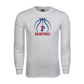 White Long Sleeve T Shirt-Penn Basketball Stacked w/ Ball