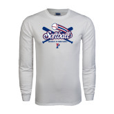 White Long Sleeve T Shirt-Softball w/ Crossed Bats