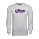 White Long Sleeve T Shirt-Penn Softball Script