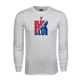 White Long Sleeve T Shirt-Bleed Red & Blue