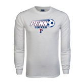 White Long Sleeve T Shirt-Soccer w/ Flying Ball