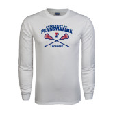 White Long Sleeve T Shirt-Lacrosse w/ Crossed Sticks