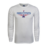 White Long Sleeve T Shirt-Track & Field Front View Shoe