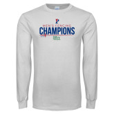 White Long Sleeve T Shirt-2018 Mens Fencing Ivy League Champions