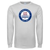 White Long Sleeve T Shirt-Franklin Field 125 Logo