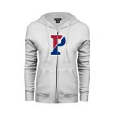 ENZA Ladies White Fleece Full Zip Hoodie-Split P