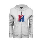 ENZA Ladies White Fleece Full Zip Hoodie-Bleed Red & Blue