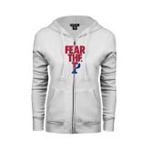 ENZA Ladies White Fleece Full Zip Hoodie-Fear The P