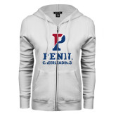 ENZA Ladies White Fleece Full Zip Hoodie-Cheerleading