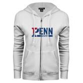 ENZA Ladies White Fleece Full Zip Hoodie-Penn Football