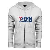 ENZA Ladies White Fleece Full Zip Hoodie-Penn Golf