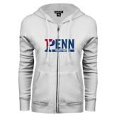 ENZA Ladies White Fleece Full Zip Hoodie-Penn Sprint Football