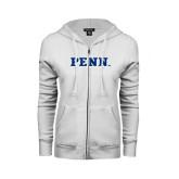 ENZA Ladies White Fleece Full Zip Hoodie-PENN Wordmark