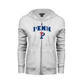 ENZA Ladies White Fleece Full Zip Hoodie-PENN Arched P