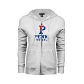 ENZA Ladies White Fleece Full Zip Hoodie-Football