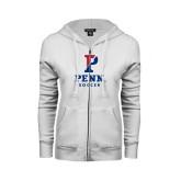 ENZA Ladies White Fleece Full Zip Hoodie-Soccer