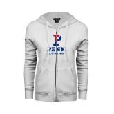 ENZA Ladies White Fleece Full Zip Hoodie-Rowing