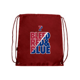 Nylon Cardinal Drawstring Backpack-Bleed Red & Blue