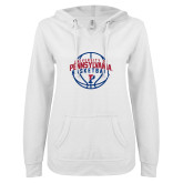 ENZA Ladies White V Notch Raw Edge Fleece Hoodie-Pennsylvania Basketball Arched