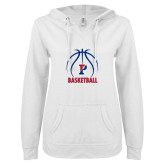 ENZA Ladies White V Notch Raw Edge Fleece Hoodie-Penn Basketball Under Ball
