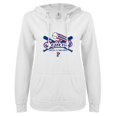 ENZA Ladies White V Notch Raw Edge Fleece Hoodie-Penn Softball Crossed Bats
