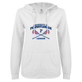 ENZA Ladies White V Notch Raw Edge Fleece Hoodie-Pennsylvania Lacrosse Crossed Sticks
