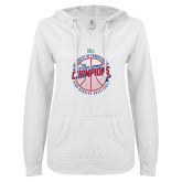 ENZA Ladies White V Notch Raw Edge Fleece Hoodie-2018 Ivy League Mens Basketball