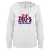 ENZA Ladies White V Notch Raw Edge Fleece Hoodie-Big 5 Champions 2019