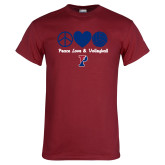 Cardinal T Shirt-Peace Love & Volleyball