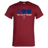 Cardinal T Shirt-Peace Love & Volleyball