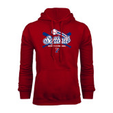 Cardinal Fleece Hood-Softball w/ Crossed Bats