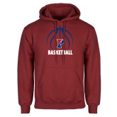 Cardinal Fleece Hoodie-Penn Basketball Under Ball