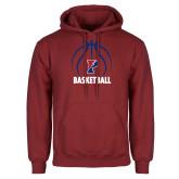 Cardinal Fleece Hoodie-Penn Basketball Under Ball