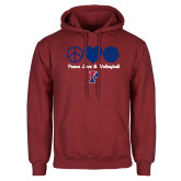 Cardinal Fleece Hoodie-Peace Love & Volleyball