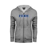 Ladies Grey Fleece Full Zip Hoodie-PENN Wordmark