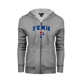 Ladies Grey Fleece Full Zip Hoodie-PENN Arched P