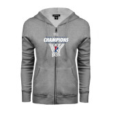 ENZA Ladies Grey Fleece Full Zip Hoodie-2016 Ivy League Womens Basketball Champions